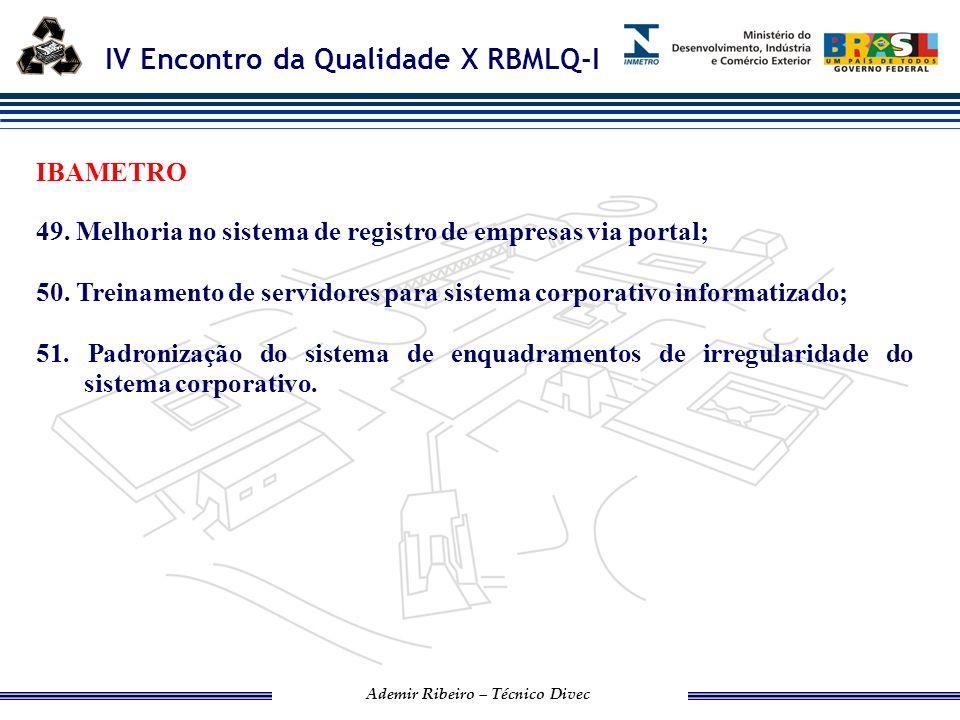 IV Encontro da Qualidade X RBMLQ-I Ademir Ribeiro – Técnico Divec DPEM-AC 52.