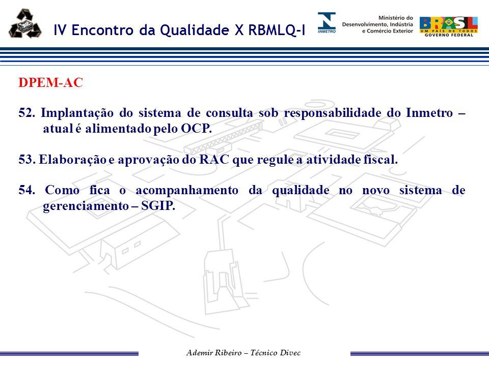 IV Encontro da Qualidade X RBMLQ-I Ademir Ribeiro – Técnico Divec SURO1-GO 55.