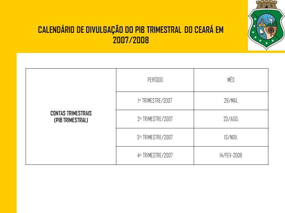 CONTAS TRIMESTRAIS (PIB TRIMESTRAL) PERÍODOMÊS 1° TRIMESTRE/200729/MAI. 2° TRIMESTRE/200723/AGO. 3° TRIMESTRE/200713/NOV. 4° TRIMESTRE/200714/FEV-2008