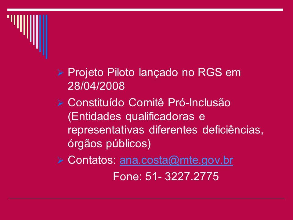 Projeto Piloto lançado no RGS em 28/04/2008 Constituído Comitê Pró-Inclusão (Entidades qualificadoras e representativas diferentes deficiências, órgão