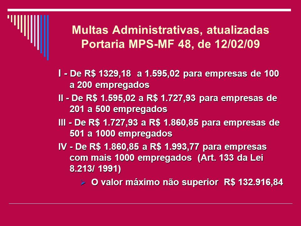 Multas Administrativas, atualizadas Portaria MPS-MF 48, de 12/02/09 I - De R$ 1329,18 a 1.595,02para empresas de 100 a 200 empregados I - De R$ 1329,1