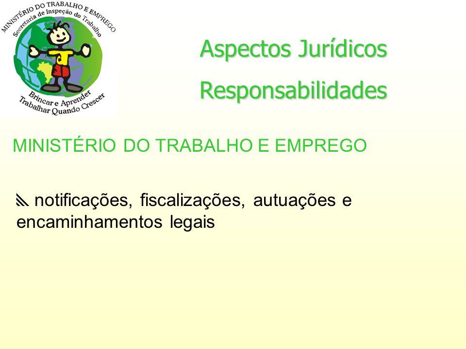 Aspectos Jurídicos Responsabilidades MINISTÉRIO DO TRABALHO E EMPREGO notificações, fiscalizações, autuações e encaminhamentos legais