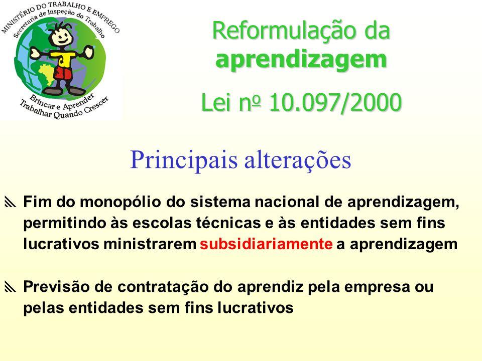 Reformulação da aprendizagem Lei n o 10.097/2000 Obrigatoriedade de contratação de aprendizes por estabelecimento Principais alterações 5% à 15% das funções que demandam formação técnico- profissional