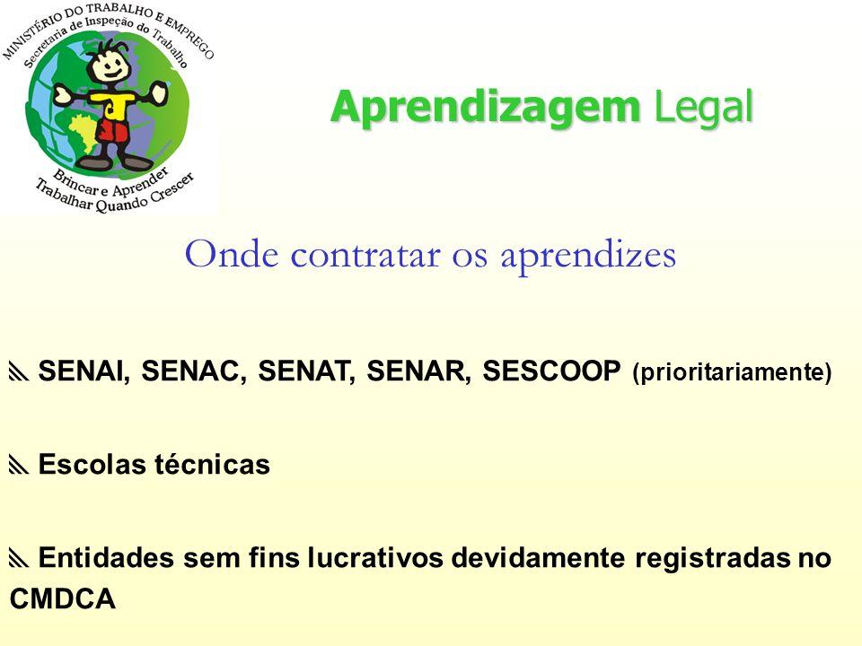 Aprendizagem Legal Onde contratar os aprendizes SENAI, SENAC, SENAT, SENAR, SESCOOP (prioritariamente) Escolas técnicas Entidades sem fins lucrativos devidamente registradas no CMDCA