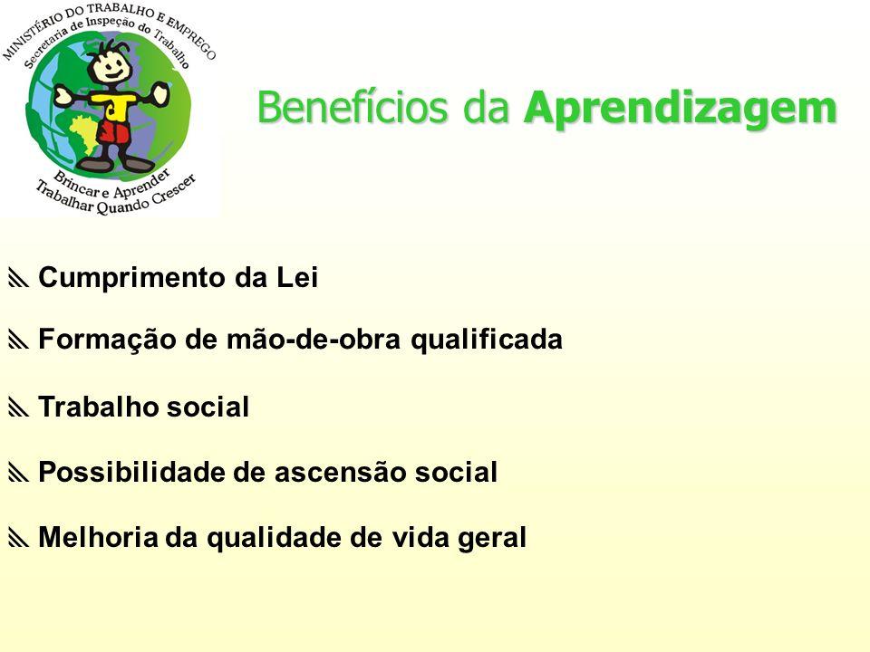 Benefícios da Aprendizagem Trabalho social Formação de mão-de-obra qualificada Possibilidade de ascensão social Melhoria da qualidade de vida geral Cumprimento da Lei