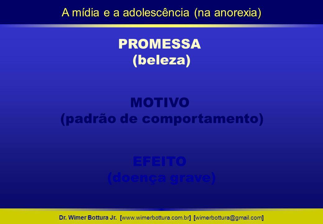 A mídia e a adolescência (na anorexia) Dr. Wimer Bottura Jr. [www.wimerbottura.com.br] [wimerbottura@gmail.com] PROMESSA (beleza) EFEITO (doença grave