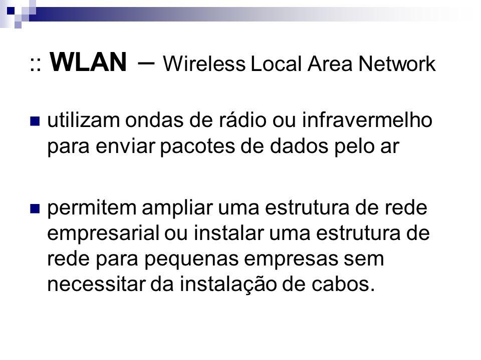 :: WLAN – Wireless Local Area Network utilizam ondas de rádio ou infravermelho para enviar pacotes de dados pelo ar permitem ampliar uma estrutura de rede empresarial ou instalar uma estrutura de rede para pequenas empresas sem necessitar da instalação de cabos.