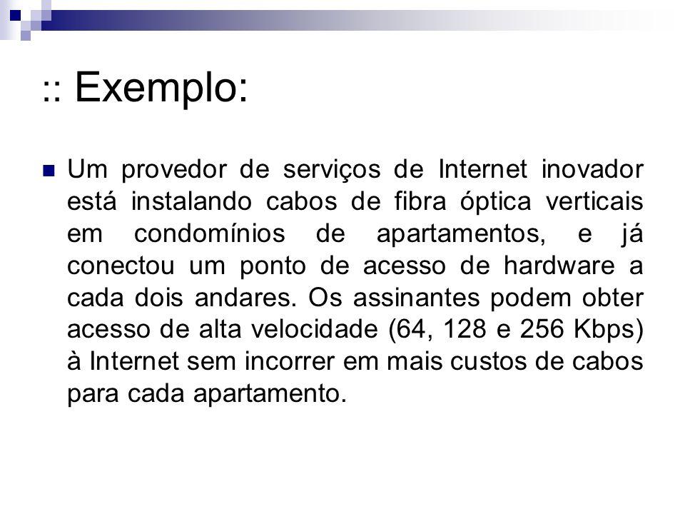 :: Exemplo: Um provedor de serviços de Internet inovador está instalando cabos de fibra óptica verticais em condomínios de apartamentos, e já conectou um ponto de acesso de hardware a cada dois andares.