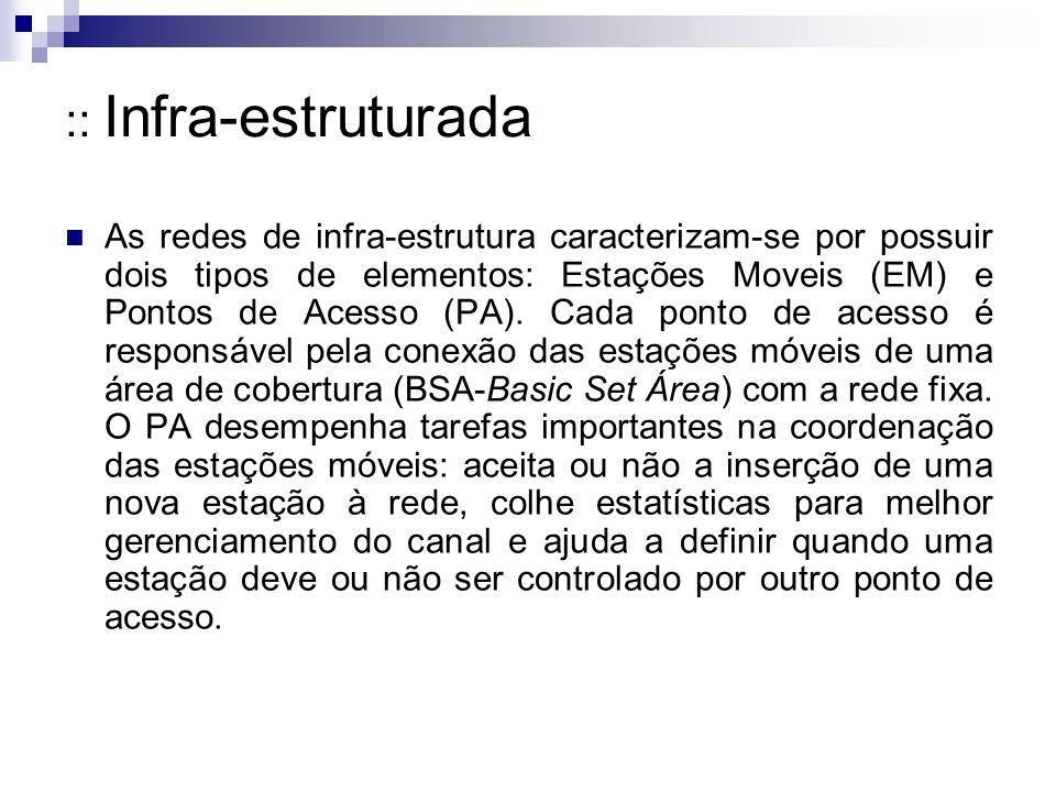 :: Infra-estruturada As redes de infra-estrutura caracterizam-se por possuir dois tipos de elementos: Estações Moveis (EM) e Pontos de Acesso (PA).