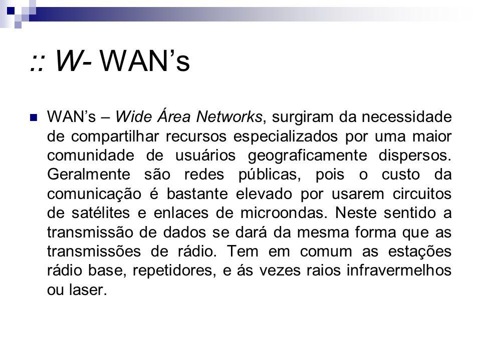 :: W- WANs WANs – Wide Área Networks, surgiram da necessidade de compartilhar recursos especializados por uma maior comunidade de usuários geograficamente dispersos.