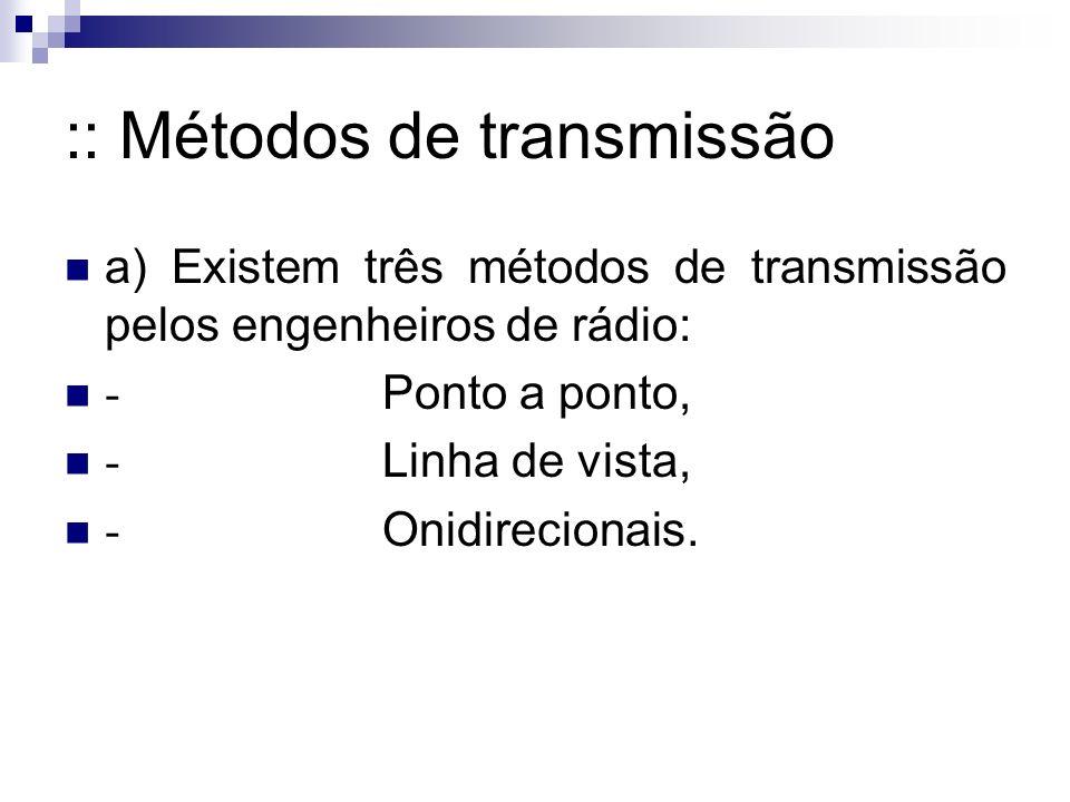 :: Métodos de transmissão a) Existem três métodos de transmissão pelos engenheiros de rádio: - Ponto a ponto, - Linha de vista, - Onidirecionais.