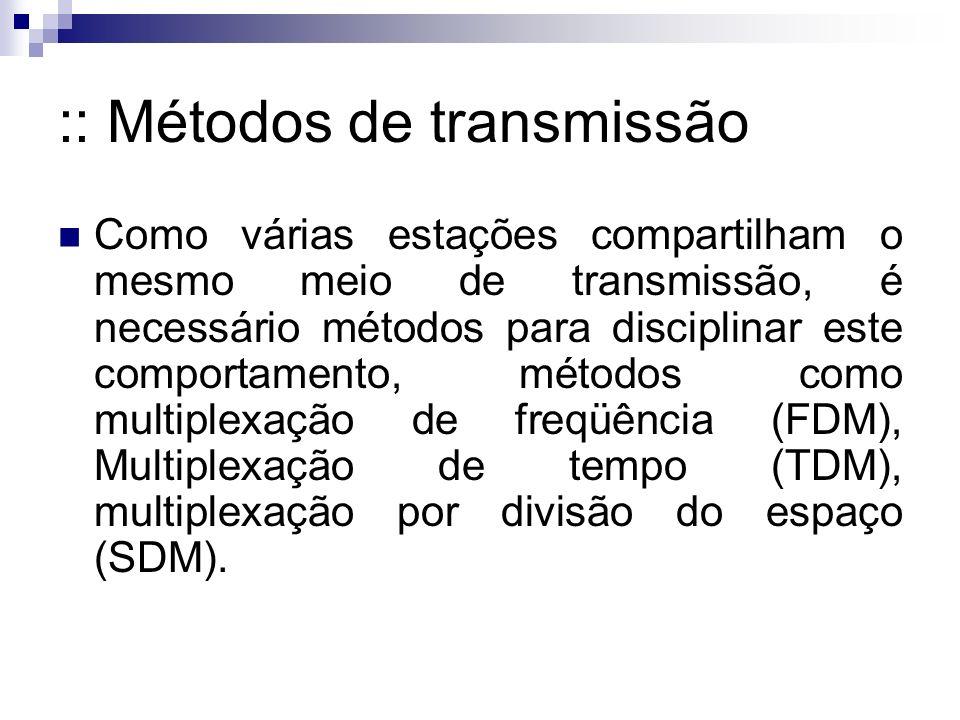 :: Métodos de transmissão Como várias estações compartilham o mesmo meio de transmissão, é necessário métodos para disciplinar este comportamento, métodos como multiplexação de freqüência (FDM), Multiplexação de tempo (TDM), multiplexação por divisão do espaço (SDM).