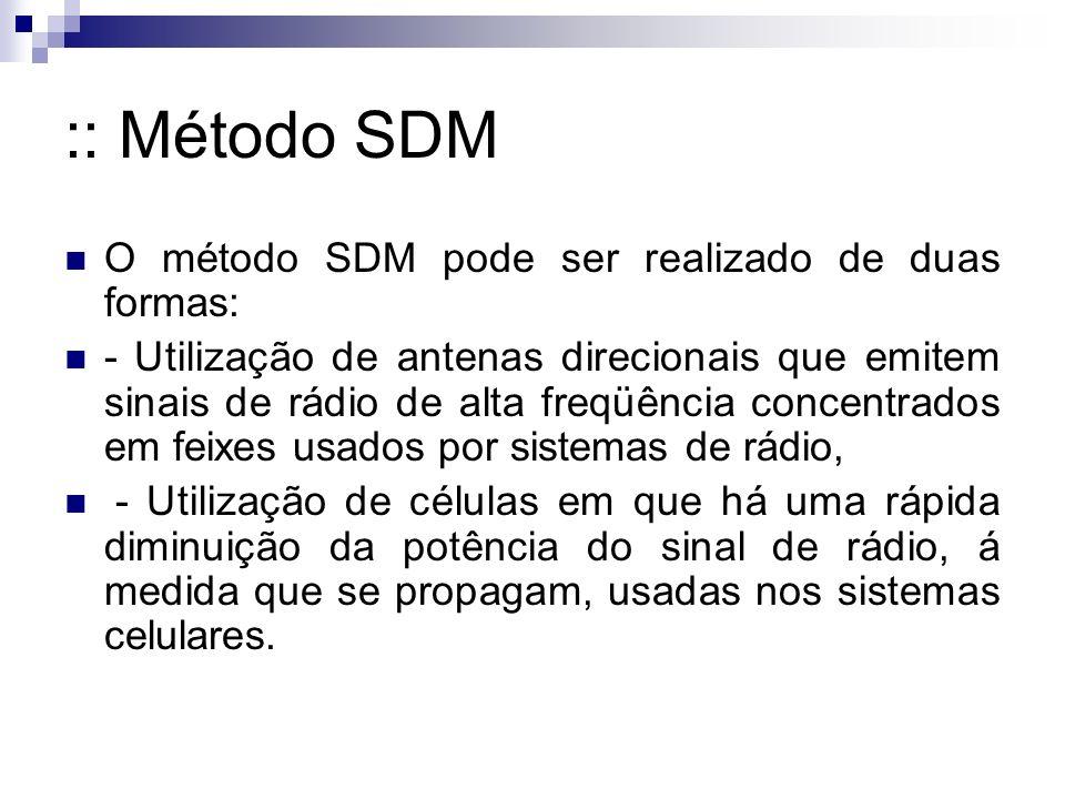 :: Método SDM O método SDM pode ser realizado de duas formas: - Utilização de antenas direcionais que emitem sinais de rádio de alta freqüência concentrados em feixes usados por sistemas de rádio, - Utilização de células em que há uma rápida diminuição da potência do sinal de rádio, á medida que se propagam, usadas nos sistemas celulares.