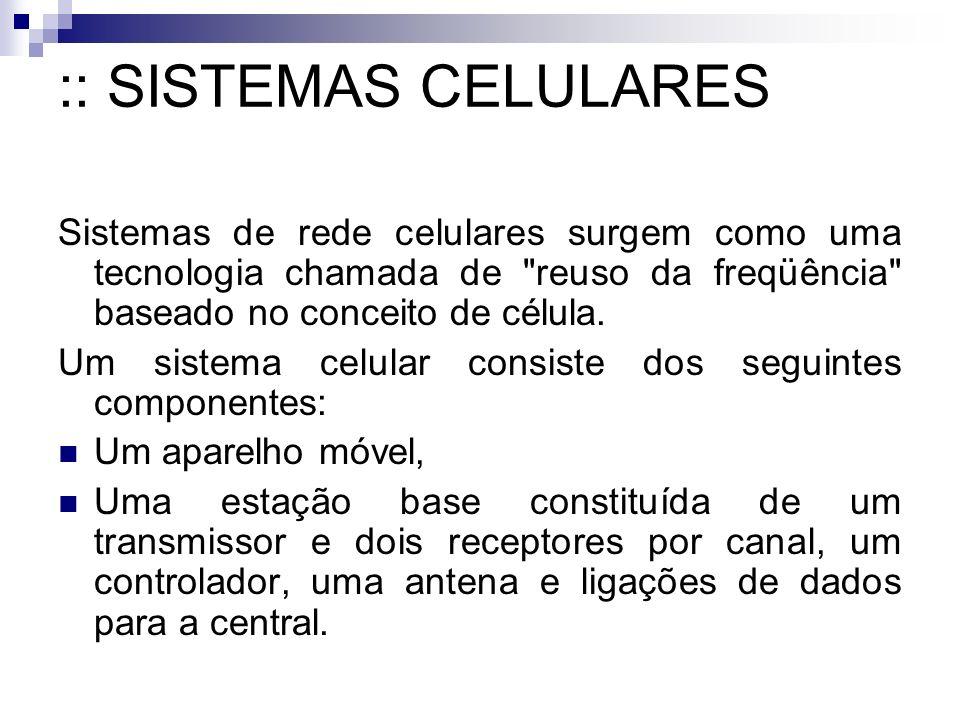 :: SISTEMAS CELULARES Sistemas de rede celulares surgem como uma tecnologia chamada de
