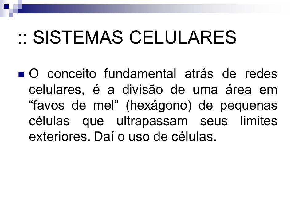 :: SISTEMAS CELULARES O conceito fundamental atrás de redes celulares, é a divisão de uma área em favos de mel (hexágono) de pequenas células que ultrapassam seus limites exteriores.