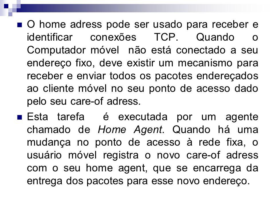O home adress pode ser usado para receber e identificar conexões TCP. Quando o Computador móvel não está conectado a seu endereço fixo, deve existir u