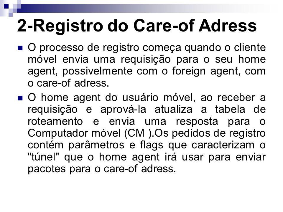 2-Registro do Care-of Adress O processo de registro começa quando o cliente móvel envia uma requisição para o seu home agent, possivelmente com o foreign agent, com o care-of adress.