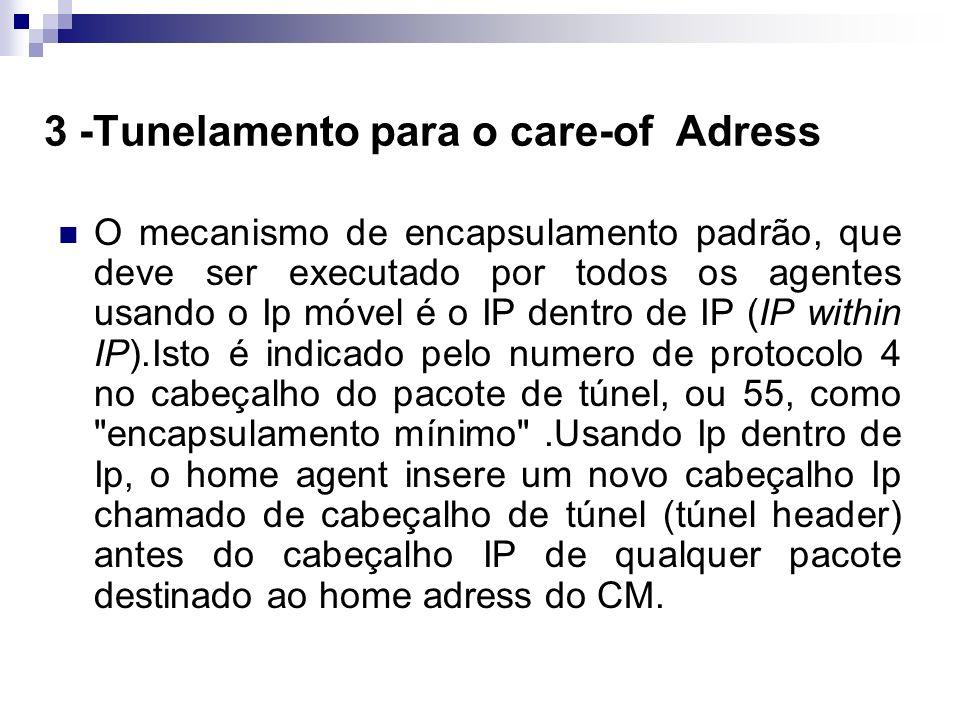 3 -Tunelamento para o care-of Adress O mecanismo de encapsulamento padrão, que deve ser executado por todos os agentes usando o Ip móvel é o IP dentro