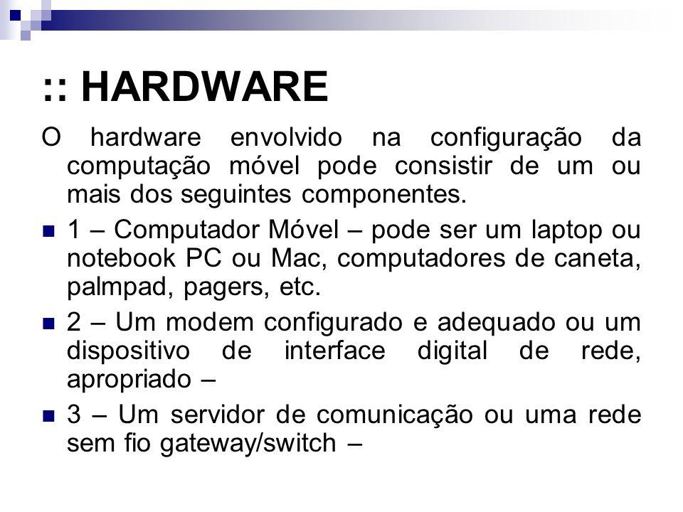 :: HARDWARE O hardware envolvido na configuração da computação móvel pode consistir de um ou mais dos seguintes componentes. 1 – Computador Móvel – po