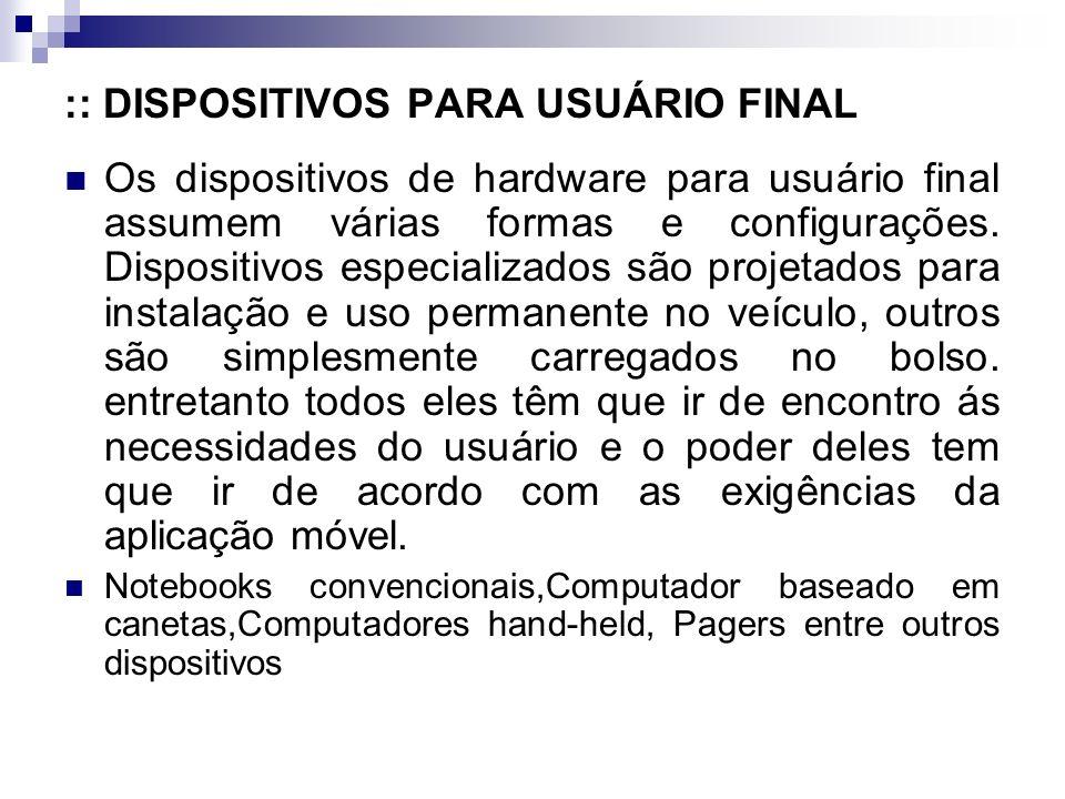 :: DISPOSITIVOS PARA USUÁRIO FINAL Os dispositivos de hardware para usuário final assumem várias formas e configurações.