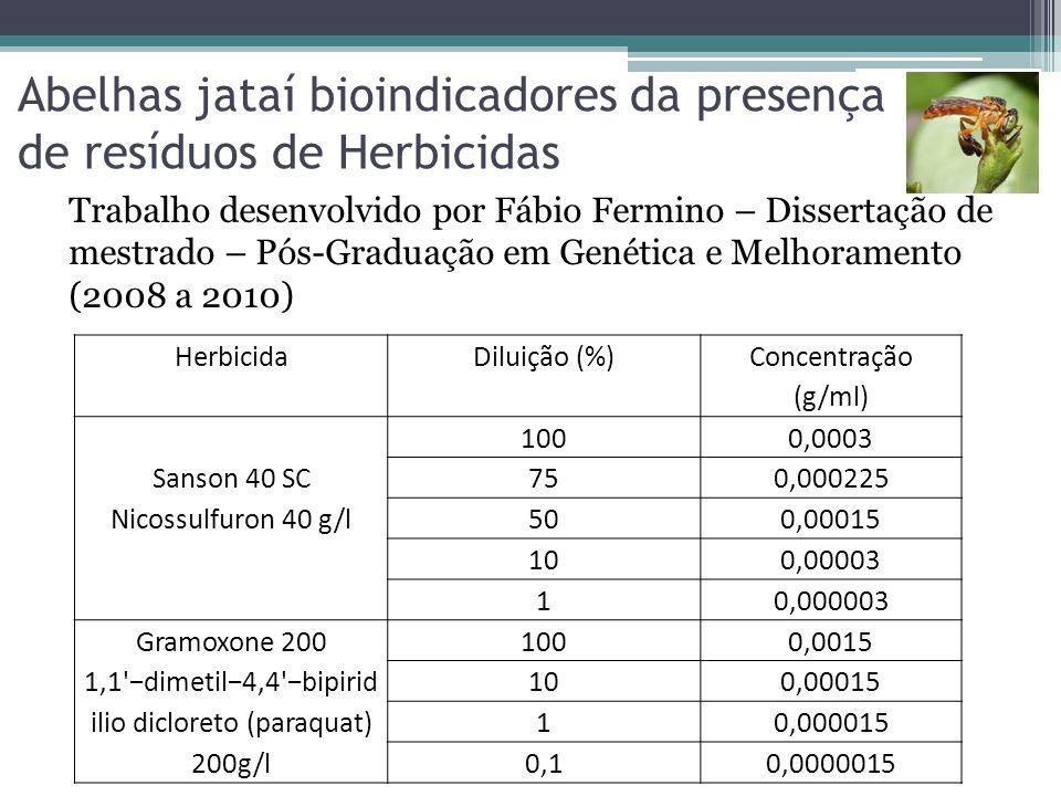 Abelhas jataí bioindicadores da presença de resíduos de Herbicidas HerbicidaDiluição (%) Concentração (g/ml) Sanson 40 SC Nicossulfuron 40 g/l 1000,00