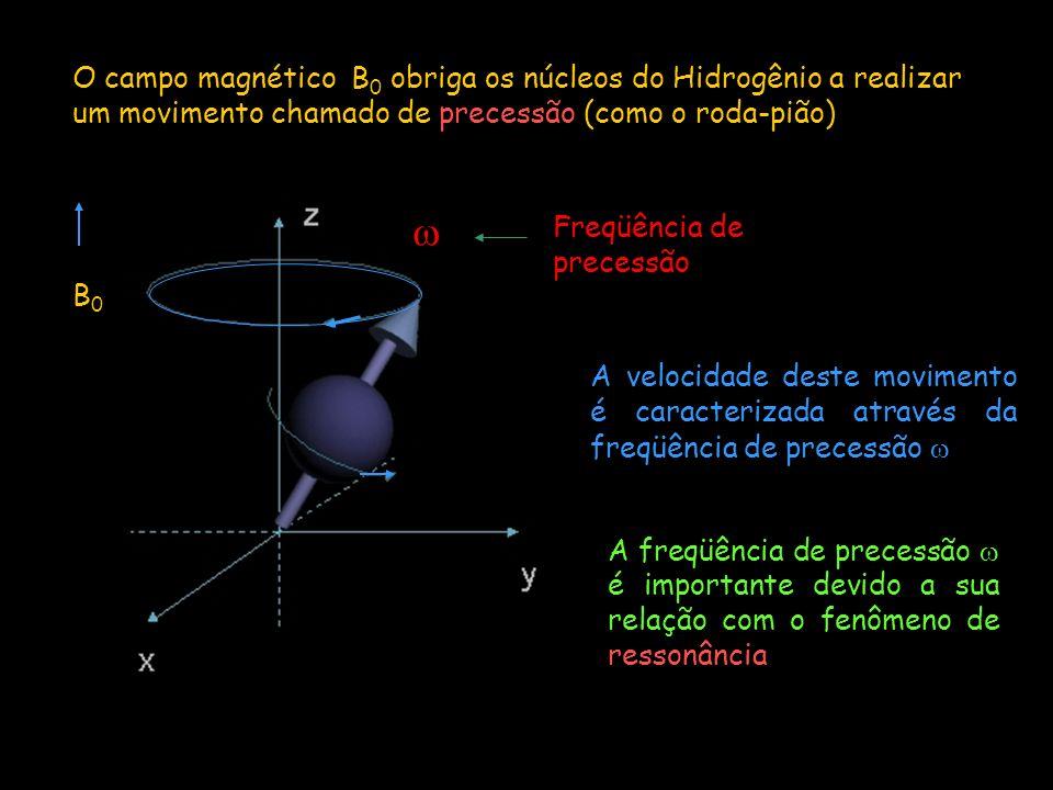 Movimento de precessão Assim como o peão tenta se orientar ao campo gravitacional o próton do Hidrogênio tenta se alinhar ao campo magnético B 0 A taxa de precessão, ou freqüência angular ( ) é governada pela força do campo magnético externo ( B 0 ) e é expressa através da Equação de Larmor (equação fundamental da IRMN e que define a condição de ressonância) = x B 0 - é a razão giromagnética (constante específica de cada elemento O núcleo de Hidrogênio possui uma constante giromagnética de 42,5 MHz/ T, ou seja, se o campo magnético for de 1,5 Tesla o núcleo de Hidrogênio irá precessar a 63,75 MHz
