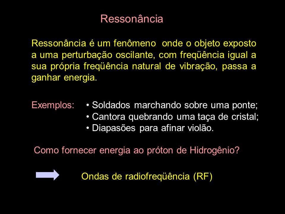 Ressonância Ressonância é um fenômeno onde o objeto exposto a uma perturbação oscilante, com freqüência igual a sua própria freqüência natural de vibr