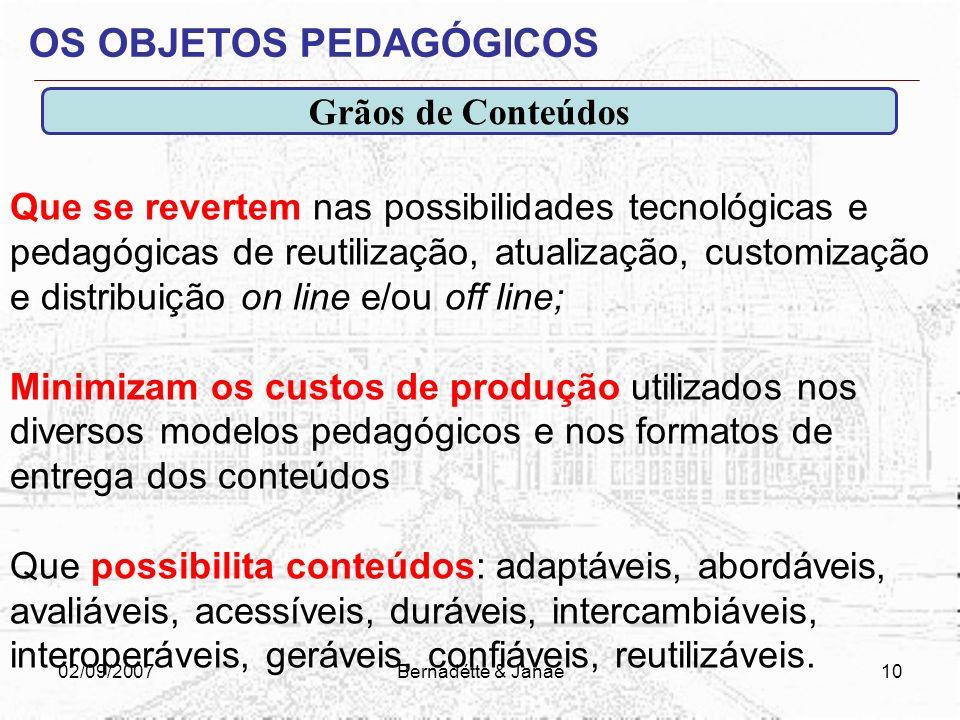 02/09/2007Bernadétte & Janae9 MATERIAIS E OBJETOS PEDAGÓGICOS? Um conteúdo (material ou recurso digital), sem dúvida senão tiver, de maneira intríseca