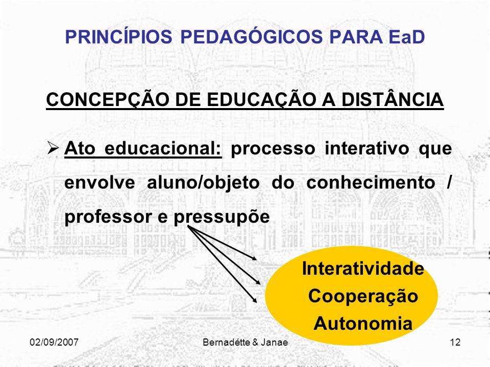 02/09/2007Bernadétte & Janae11 PRINCÍPIOS PEDAGÓGICOS PARA EaD CONCEPÇÃO PEDAGÓGICA: O indivíduo não é apenas ativo, mas interativo, porque constrói c