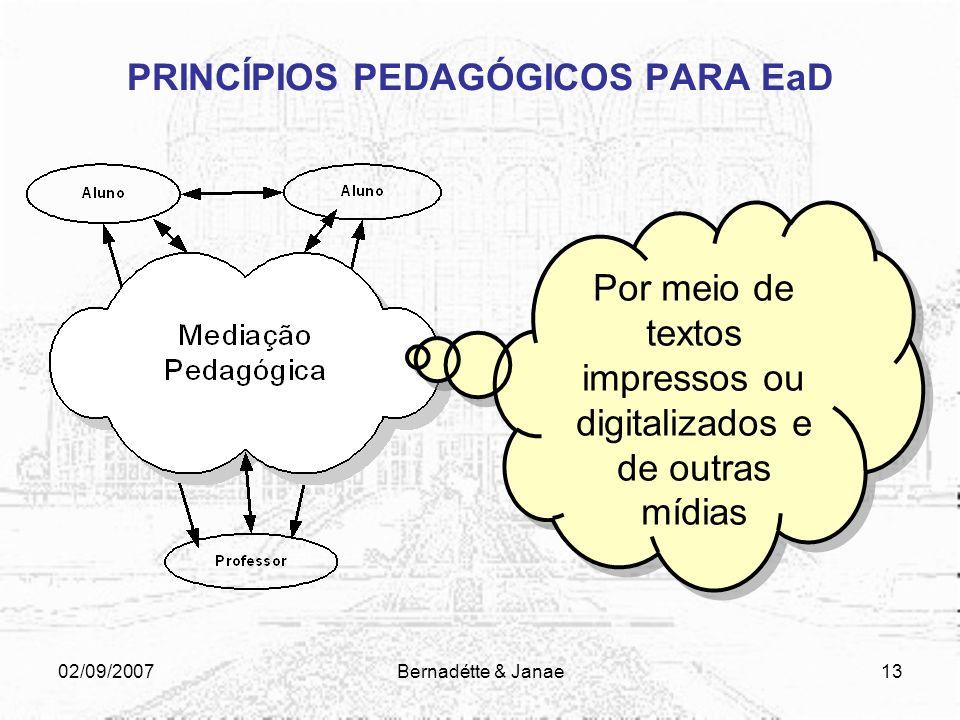 02/09/2007Bernadétte & Janae12 PRINCÍPIOS PEDAGÓGICOS PARA EaD CONCEPÇÃO DE EDUCAÇÃO A DISTÂNCIA Ato educacional: processo interativo que envolve alun