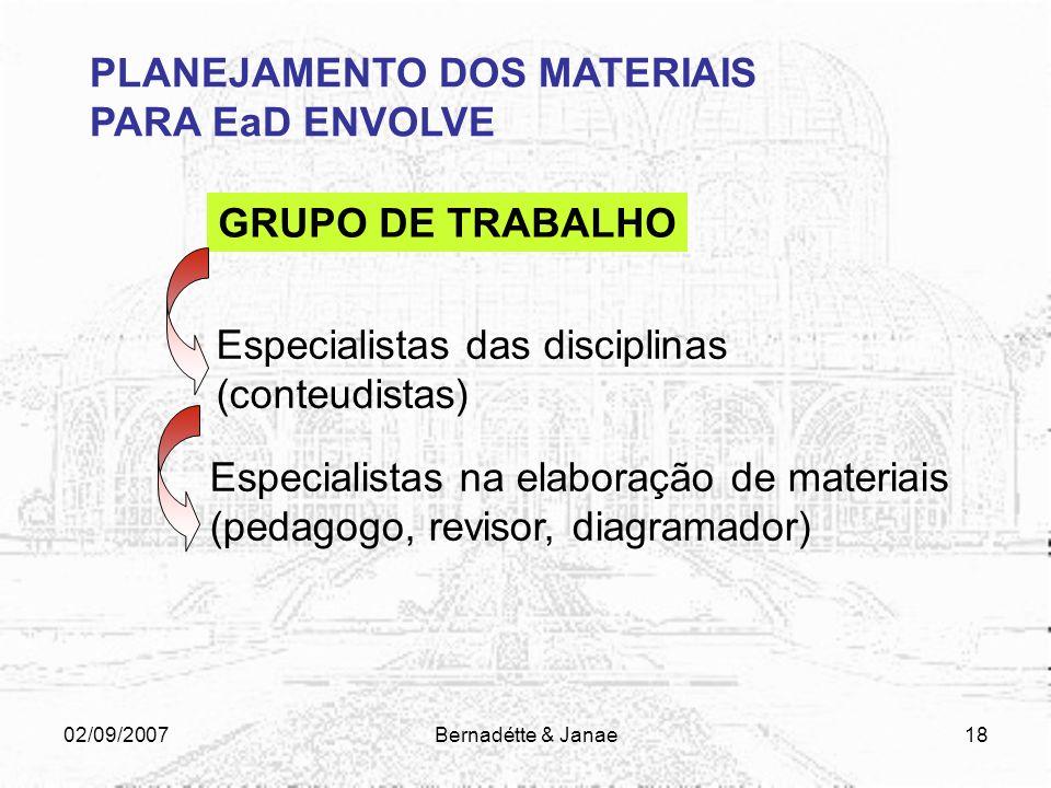 02/09/2007Bernadétte & Janae17 PLANEJAMENTO DOS MATERIAIS PARA EaD ENVOLVE Grupo de trabalho Perfil do aluno Perfil do curso