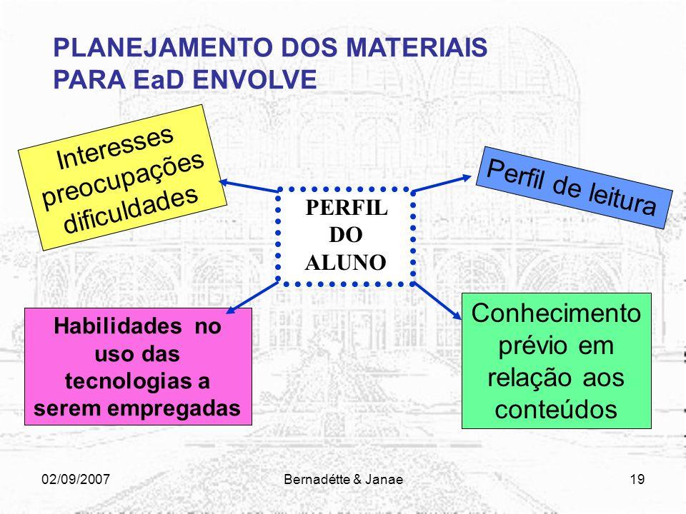 02/09/2007Bernadétte & Janae18 PLANEJAMENTO DOS MATERIAIS PARA EaD ENVOLVE GRUPO DE TRABALHO Especialistas na elaboração de materiais (pedagogo, revis