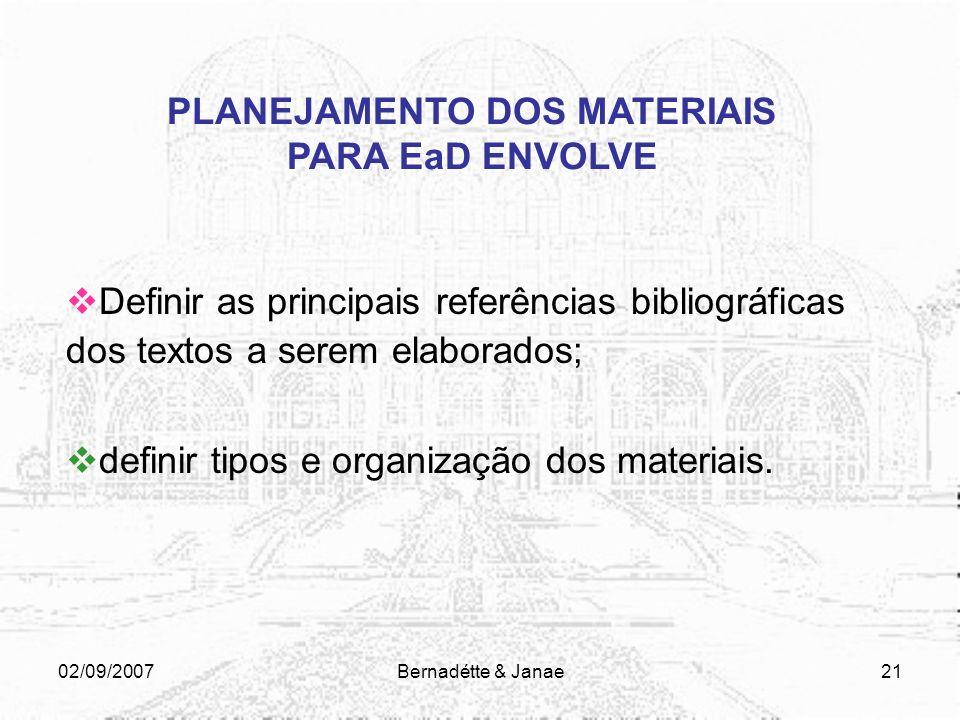 02/09/2007Bernadétte & Janae20 PLANEJAMENTO DOS MATERIAIS PARA EaD ENVOLVE PERFIL DO CURSO/DISCIPLINA Definir os objetivos do curso/disciplina; Identi