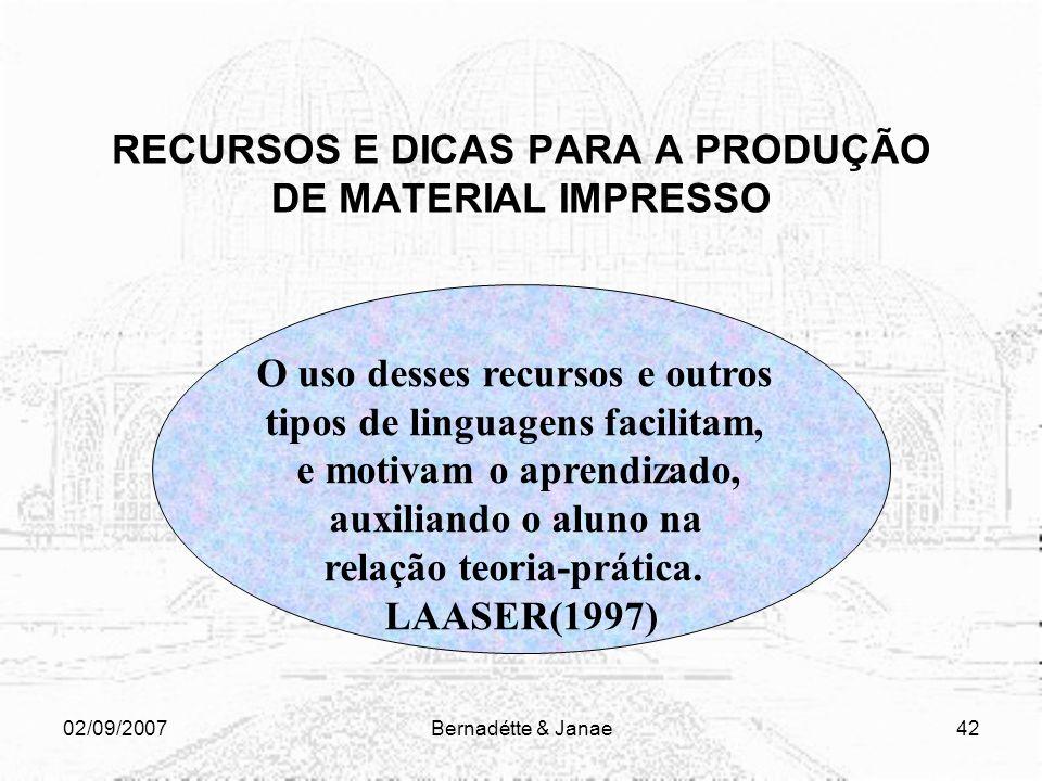 02/09/2007Bernadétte & Janae41 RECURSOS E DICAS PARA A PRODUÇÃO DE MATERIAL IMPRESSO Os objetivos de aprendizagem de cada unidade devem ser claros Pre