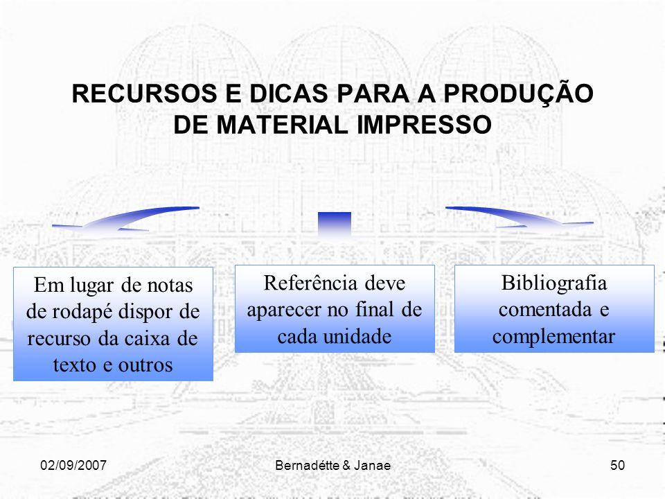 02/09/2007Bernadétte & Janae49 RECURSOS E DICAS PARA A PRODUÇÃO DE MATERIAL IMPRESSO SÃO DE INTEIRA RESPONSABILIDADE DO PROFESSOR Isso significa que a