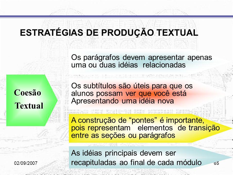 02/09/2007Bernadétte & Janae64 ESTRATÉGIAS DE PRODUÇÃO TEXTUAL use analogias, repetições, exemplos e comparações ao adaptar textos complexos, alterne