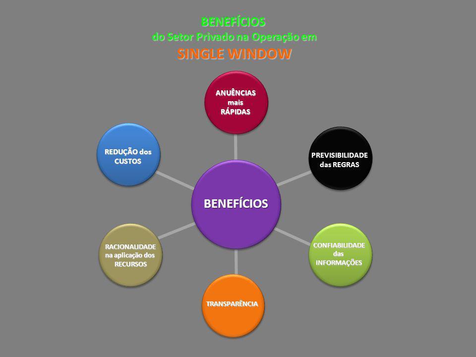 BENEFÍCIOS do Setor Privado na Operação em SINGLE WINDOW ANUÊNCIASmaisRÁPIDAS BENEFÍCIOS RACIONALIDADE na aplicação dos na aplicação dos RECURSOS CONF