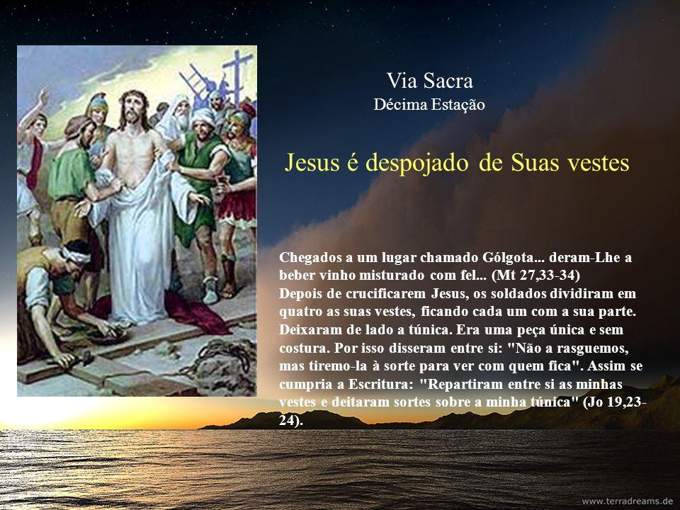 Jesus é despojado de Suas vestes Chegados a um lugar chamado Gólgota... deram-Lhe a beber vinho misturado com fel... (Mt 27,33-34) Depois de crucifica