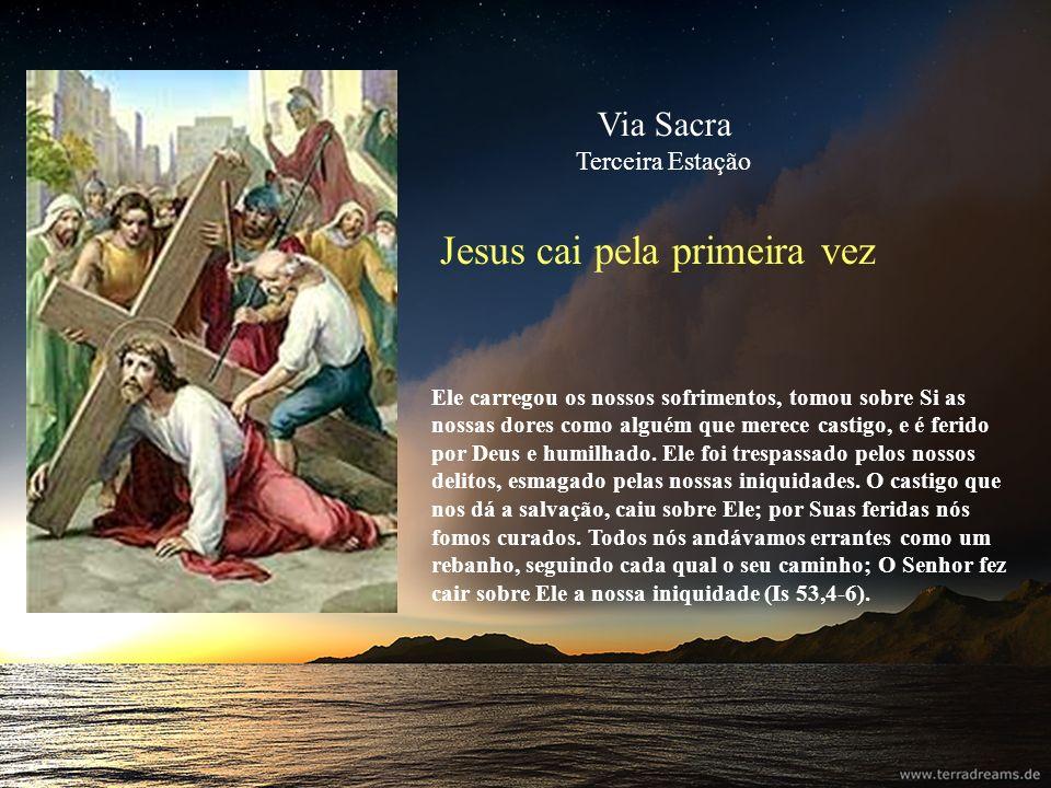 Jesus cai pela primeira vez Ele carregou os nossos sofrimentos, tomou sobre Si as nossas dores como alguém que merece castigo, e é ferido por Deus e h