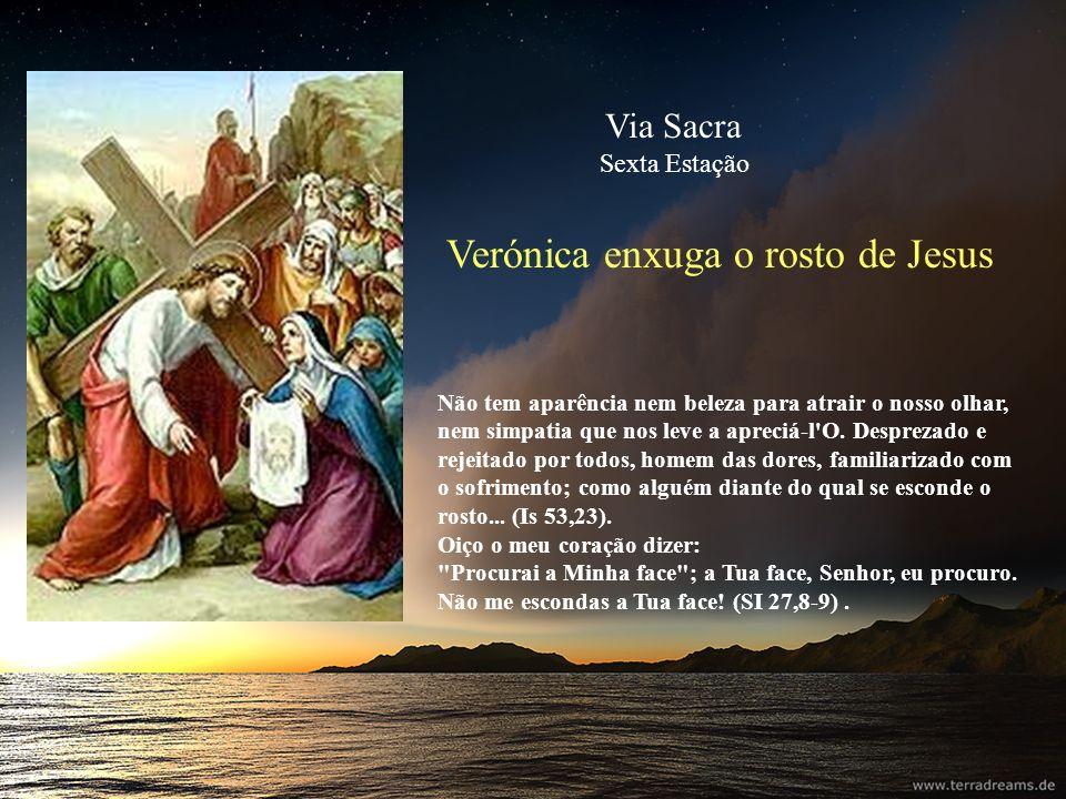 Verónica enxuga o rosto de Jesus Não tem aparência nem beleza para atrair o nosso olhar, nem simpatia que nos leve a apreciá-l'O. Desprezado e rejeita