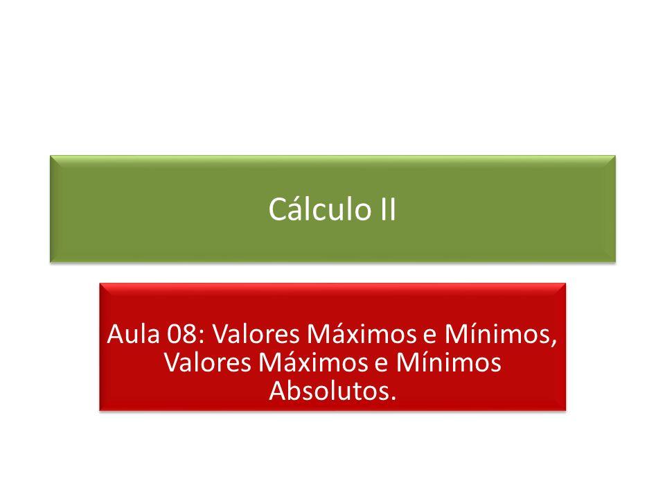 Cálculo II Aula 08: Valores Máximos e Mínimos, Valores Máximos e Mínimos Absolutos.