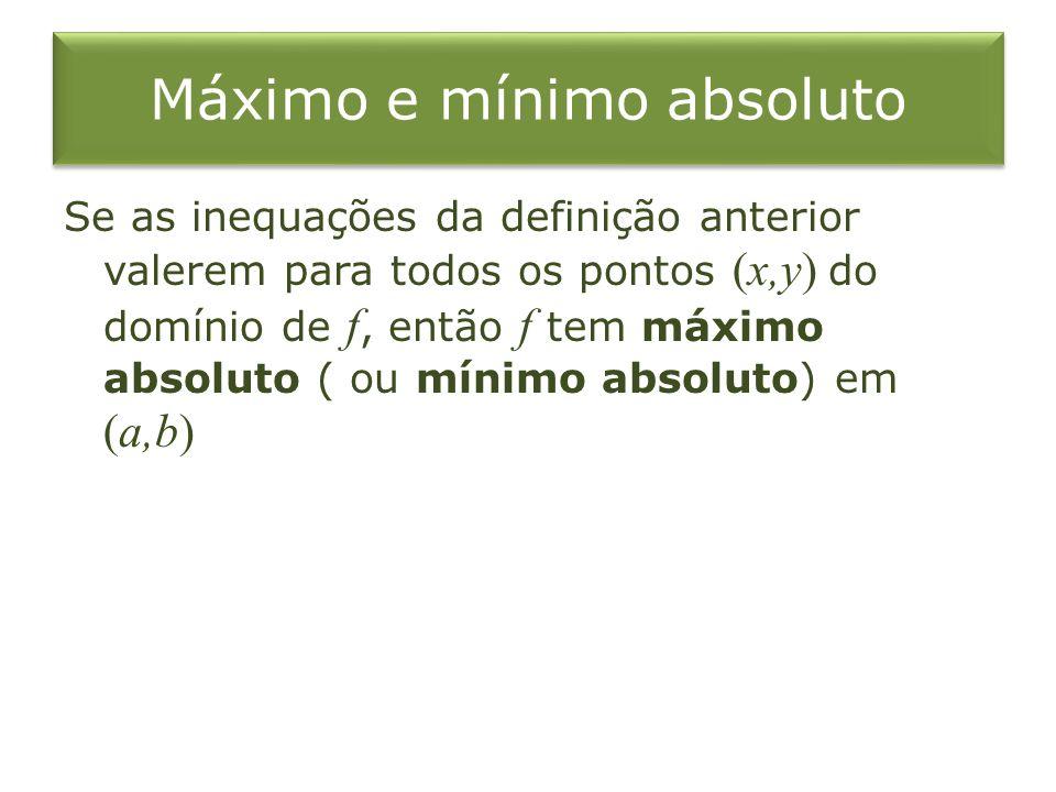 Máximo e mínimo absoluto Se as inequações da definição anterior valerem para todos os pontos (x,y) do domínio de f, então f tem máximo absoluto ( ou m
