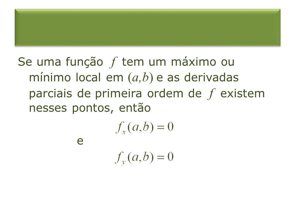 Pontos críticos Um ponto (a,b) é dito ser um ponto crítico (ou ponto estacionário) de f se e, ou uma das derivadas parciais não existir.
