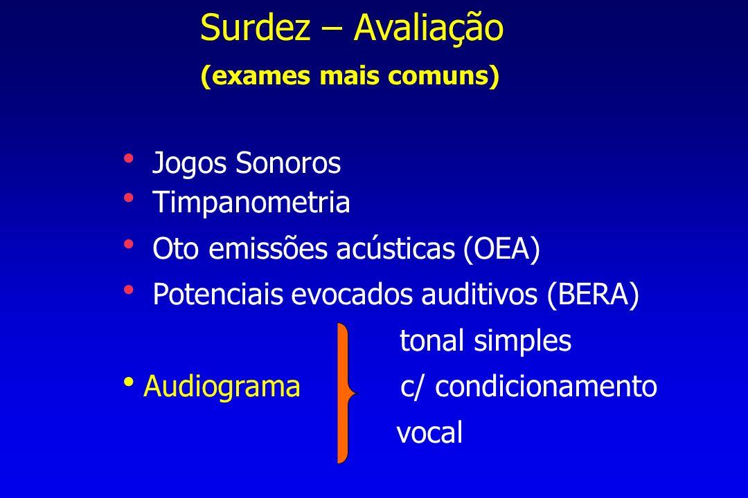Surdez – Avaliação (exames mais comuns) Jogos Sonoros Timpanometria Oto emissões acústicas (OEA) Potenciais evocados auditivos (BERA) tonal simples Audiograma c/ condicionamento vocal