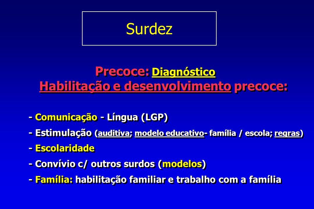 Precoce: Diagnóstico Habilitação e desenvolvimento precoce: - Comunicação - Língua (LGP) - Estimulação (auditiva; modelo educativo- família / escola; regras) - Escolaridade - Convívio c/ outros surdos (modelos) - Família: habilitação familiar e trabalho com a família Precoce: Diagnóstico Habilitação e desenvolvimento precoce: - Comunicação - Língua (LGP) - Estimulação (auditiva; modelo educativo- família / escola; regras) - Escolaridade - Convívio c/ outros surdos (modelos) - Família: habilitação familiar e trabalho com a família Surdez