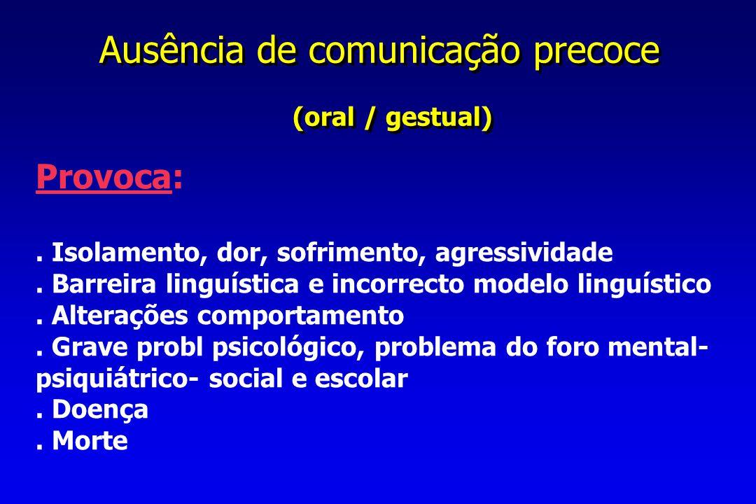 Ausência de comunicação precoce (oral / gestual) Ausência de comunicação precoce (oral / gestual) Provoca:.
