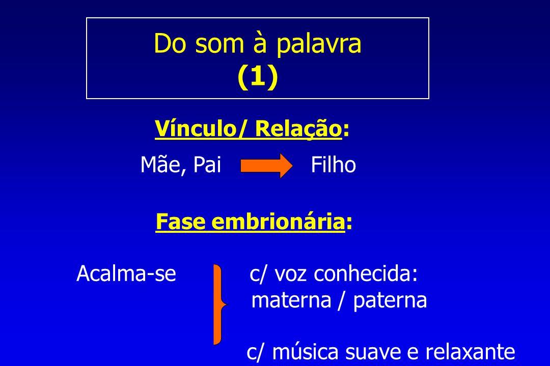 Do som à palavra (1) Vínculo/ Relação: Mãe, Pai Filho Fase embrionária: Acalma-se c/ voz conhecida: materna / paterna c/ música suave e relaxante