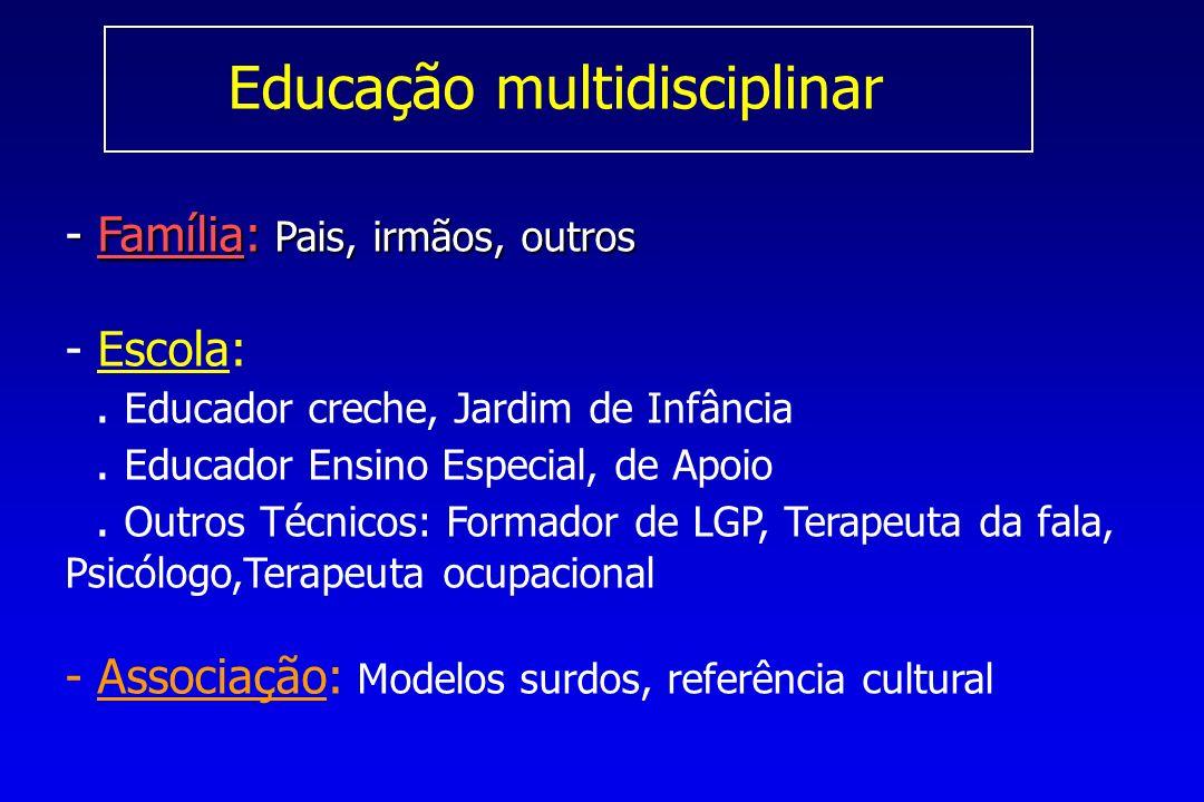 Educação multidisciplinar - Família: Pais, irmãos, outros - - Escola:.