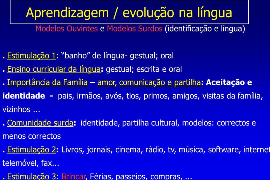 Aprendizagem / evolução na língua Modelos Ouvintes e Modelos Surdos (identificação e língua).