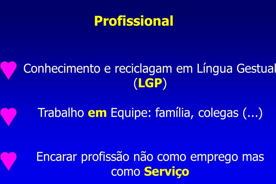 Profissional Conhecimento e reciclagam em Língua Gestual (LGP) Trabalho em Equipe: família, colegas (...) Encarar profissão não como emprego mas como Serviço